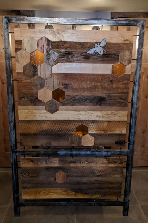 Upstairs Restroom Area: Reclaimed barnwood, steel, and Kokomo glass Art Wall
