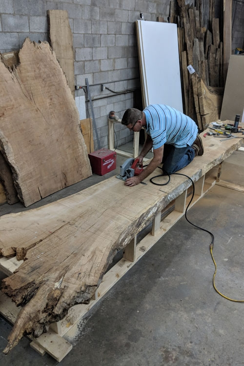Bar Area: Red Oak live-edge slab for the front bar