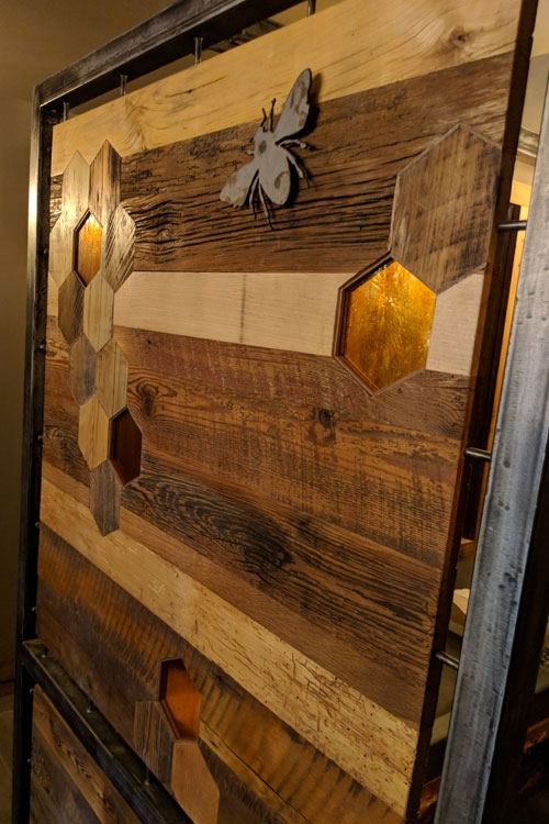 Upstairs Restroom: Detail of Reclaimed barnwood, steel, Kokomo Glass Art Wall