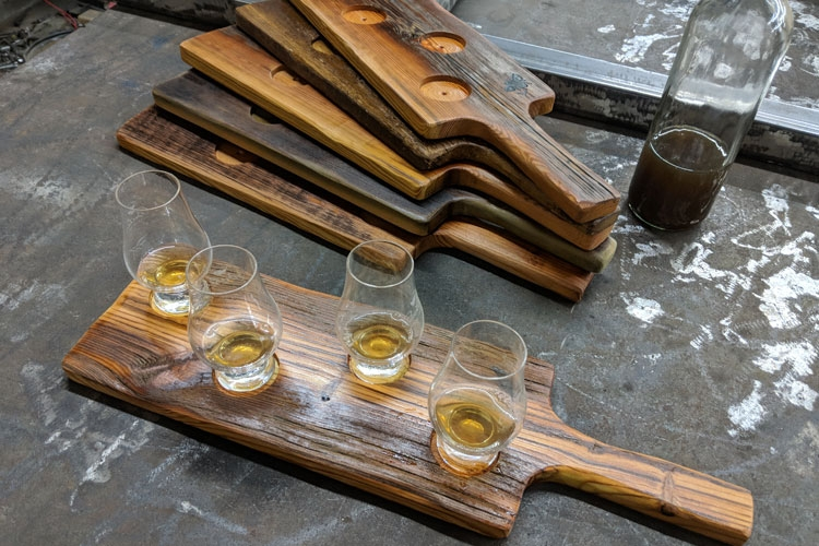 Barnwood Bourbon Flight Boards with Bee Stamp