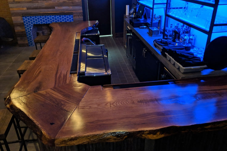 Bar Area: Red Oak live-edge bar