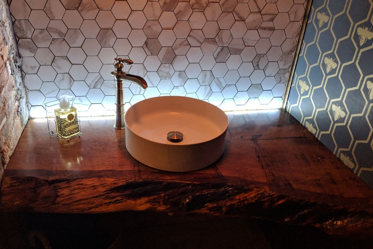 Downstairs Restroom: Live-edge Vanity